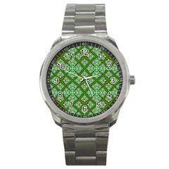 Digital Computer Graphic Seamless Geometric Ornament Sport Metal Watch by Simbadda