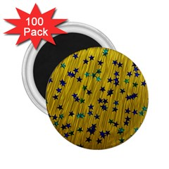 Abstract Gold Background With Blue Stars 2 25  Magnets (100 Pack)  by Simbadda