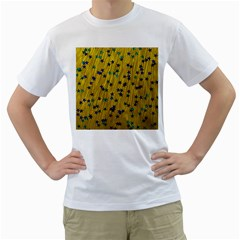 Abstract Gold Background With Blue Stars Men s T Shirt (white) (two Sided)