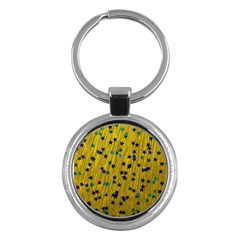 Abstract Gold Background With Blue Stars Key Chains (round)  by Simbadda