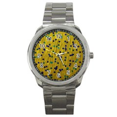 Abstract Gold Background With Blue Stars Sport Metal Watch by Simbadda
