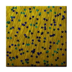 Abstract Gold Background With Blue Stars Face Towel by Simbadda