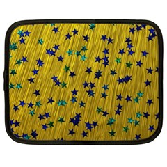 Abstract Gold Background With Blue Stars Netbook Case (xl)  by Simbadda