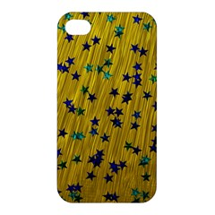Abstract Gold Background With Blue Stars Apple Iphone 4/4s Premium Hardshell Case by Simbadda