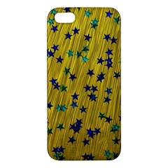 Abstract Gold Background With Blue Stars Iphone 5s/ Se Premium Hardshell Case by Simbadda