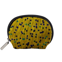Abstract Gold Background With Blue Stars Accessory Pouches (small)  by Simbadda