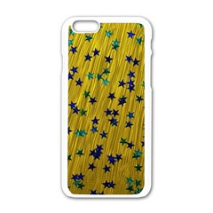 Abstract Gold Background With Blue Stars Apple Iphone 6/6s White Enamel Case