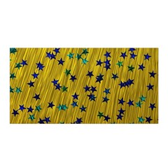 Abstract Gold Background With Blue Stars Satin Wrap by Simbadda