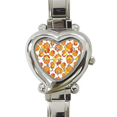 Colorful Stylized Floral Pattern Heart Italian Charm Watch by dflcprints