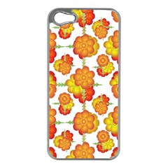 Colorful Stylized Floral Pattern Apple Iphone 5 Case (silver) by dflcprints