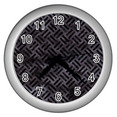 Woven2 Black Marble & Black Watercolor (r) Wall Clock (silver) by trendistuff