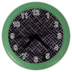 Woven2 Black Marble & Black Watercolor (r) Color Wall Clock by trendistuff
