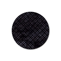 Woven2 Black Marble & Black Watercolor Rubber Coaster (round) by trendistuff