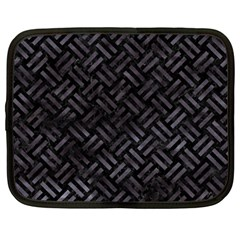 Woven2 Black Marble & Black Watercolor Netbook Case (large) by trendistuff