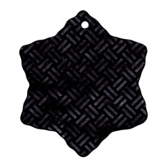 Woven2 Black Marble & Black Watercolor Ornament (snowflake) by trendistuff