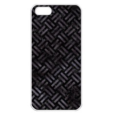 Woven2 Black Marble & Black Watercolor Apple Iphone 5 Seamless Case (white) by trendistuff