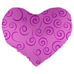 Pattern Large 19  Premium Heart Shape Cushions Back