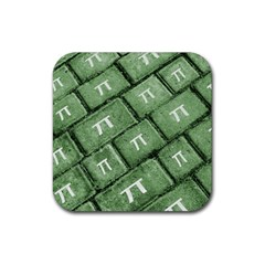 Pi Grunge Style Pattern Rubber Coaster (square)  by dflcprints