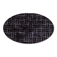 Woven1 Black Marble & Black Watercolor (r) Magnet (oval) by trendistuff