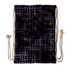 Woven1 Black Marble & Black Watercolor (r) Drawstring Bag (large) by trendistuff