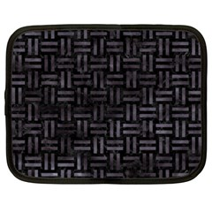 Woven1 Black Marble & Black Watercolor Netbook Case (xxl) by trendistuff