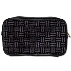 Woven1 Black Marble & Black Watercolor Toiletries Bag (two Sides) by trendistuff