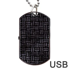 Woven1 Black Marble & Black Watercolor Dog Tag Usb Flash (two Sides) by trendistuff