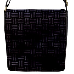 Woven1 Black Marble & Black Watercolor Flap Closure Messenger Bag (s) by trendistuff