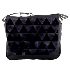 Triangle3 Black Marble & Black Watercolor Messenger Bag by trendistuff