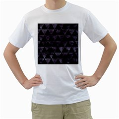 Triangle3 Black Marble & Black Watercolor Men s T Shirt (white)  by trendistuff