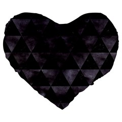 Triangle3 Black Marble & Black Watercolor Large 19  Premium Flano Heart Shape Cushion by trendistuff