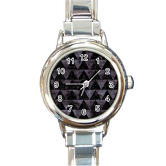 Triangle2 Black Marble & Black Watercolor Round Italian Charm Watch by trendistuff
