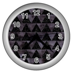 Triangle2 Black Marble & Black Watercolor Wall Clock (silver) by trendistuff