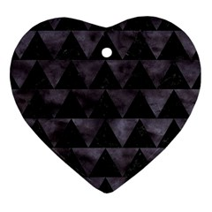 Triangle2 Black Marble & Black Watercolor Heart Ornament (two Sides) by trendistuff