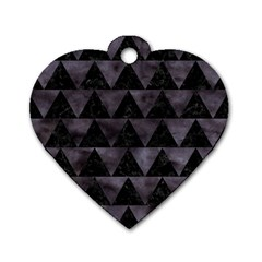Triangle2 Black Marble & Black Watercolor Dog Tag Heart (two Sides) by trendistuff