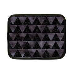 Triangle2 Black Marble & Black Watercolor Netbook Case (small) by trendistuff