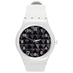 Triangle2 Black Marble & Black Watercolor Round Plastic Sport Watch (m) by trendistuff