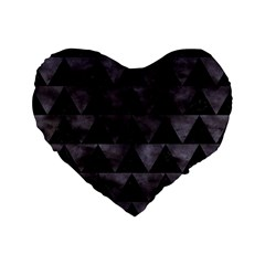 Triangle2 Black Marble & Black Watercolor Standard 16  Premium Flano Heart Shape Cushion  by trendistuff
