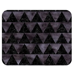 Triangle2 Black Marble & Black Watercolor Double Sided Flano Blanket (medium) by trendistuff