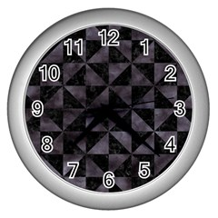 Triangle1 Black Marble & Black Watercolor Wall Clock (silver) by trendistuff