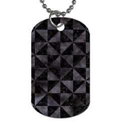 Triangle1 Black Marble & Black Watercolor Dog Tag (one Side) by trendistuff