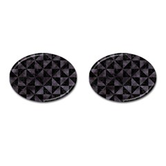 Triangle1 Black Marble & Black Watercolor Cufflinks (oval) by trendistuff