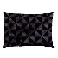 Triangle1 Black Marble & Black Watercolor Pillow Case by trendistuff