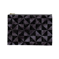 Triangle1 Black Marble & Black Watercolor Cosmetic Bag (large) by trendistuff