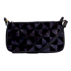 Triangle1 Black Marble & Black Watercolor Shoulder Clutch Bag by trendistuff
