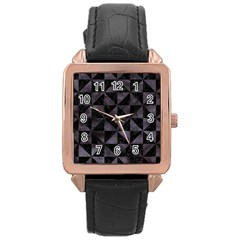 Triangle1 Black Marble & Black Watercolor Rose Gold Leather Watch  by trendistuff