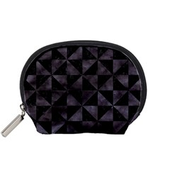 Triangle1 Black Marble & Black Watercolor Accessory Pouch (small) by trendistuff