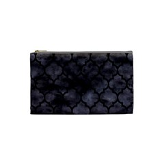 Tile1 Black Marble & Black Watercolor (r) Cosmetic Bag (small) by trendistuff