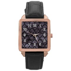 Tile1 Black Marble & Black Watercolor (r) Rose Gold Leather Watch  by trendistuff