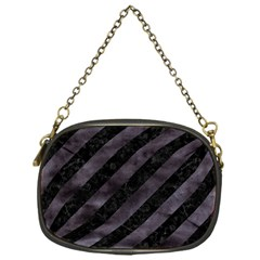 Stripes3 Black Marble & Black Watercolor Chain Purse (one Side) by trendistuff